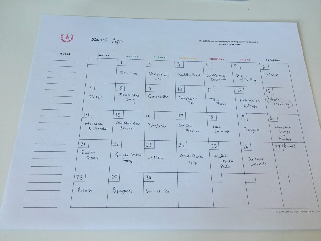 April Monthly Meal Plan